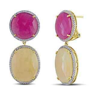 Amour 14k Yellow Gold Sapphire 12 Ct Tdw Diamond Earrings G-h Si1-si2