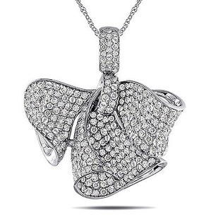 Amour 18k White Gold 13 Ct Tdw Diamond Bow Pendant Necklace G-h Si1-si2 17