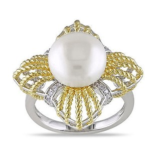 Amour 18k Yellow Gold Over Silver Freshwater Pearl And Cubic Zirconia Cocktail Ring