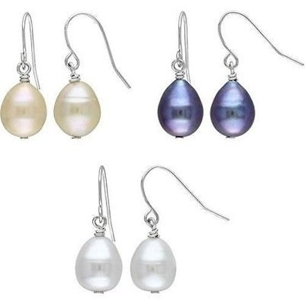 Amour 9-10 Mm Freshwater Multi Color Pearl Set Of Dangle Earings White Pink Black