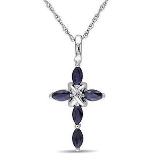 Amour Amour 10k White Gold Blue Sapphire Cross Pendant Necklace 17