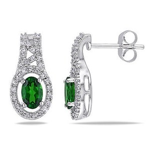 Amour Amour 10k White Gold Chrome Diopside 14 Ct Tdw Diamond Earring G-h I1-i2