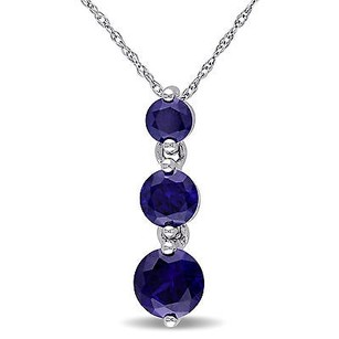 Amour Amour 10k White Gold Created Blue Sapphire 3-stone Pendant Necklace 17