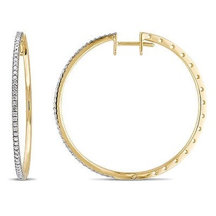 Amour Amour 10k Yellow Gold 12 Ct Tdw Diamond Hoop Earrings G-h I1-i2