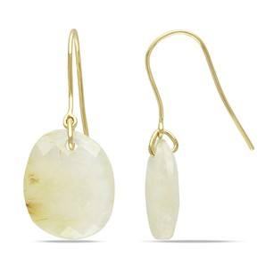 Amour Amour 10k Yellow Gold Ct Tgw Golden Rutile Charm Quartz Earrings