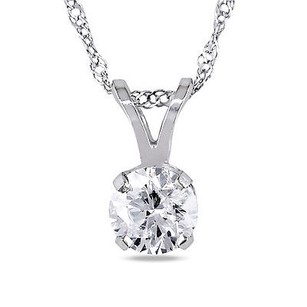 Amour Amour 14k Gold 12 Ct Tdw Diamond Solitaire Pendant Necklace J-k I2-i3 17