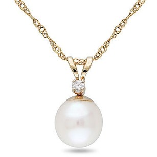 Amour Amour 14k Pearl Diamond Pendant Necklace 7-7.5 Mm 17