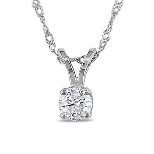 Amour Amour 14k White Gold 14 Ct Tdw Diamond Solitaire Pendant Necklace G-h I1-i2 17