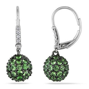 Amour Amour 14k White Gold Tsavorite And Diamond Accent Drop Dangle Leverback Earrings