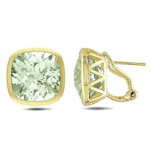 Amour Amour 14k Yellow Gold 38 Ct Tgw Cushion-cut Green Amethyst Stud Earrings