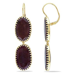 Amour Amour 14k Yellow Gold Ruby Drop Dangle Leverback Earrings