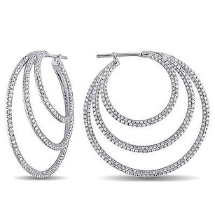 Amour Amour 18k White Gold 13 Ct Tdw Diamond Hoop Earrings G-h Si