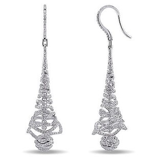Amour Amour 18k White Gold 15 Ct Tdw Diamond Dangle Earrings G-h Si1-si2