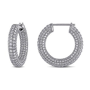 Amour Amour 18k White Gold 15 Ct Tdw Diamond Hoop Earrings G-hsi1-si2