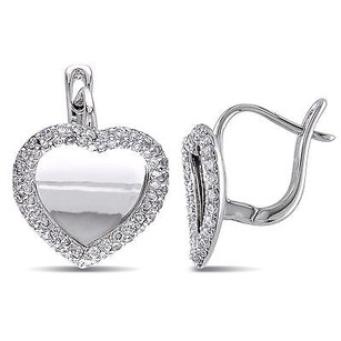 Amour Amour 18k White Gold 45 Ct Tdw Diamond Heart Stud Earrings G-h Si1-si2