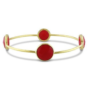 Amour Amour 22k Yellow Goldplated Brass Gemstone Carnelian Bangle Bracelet 8