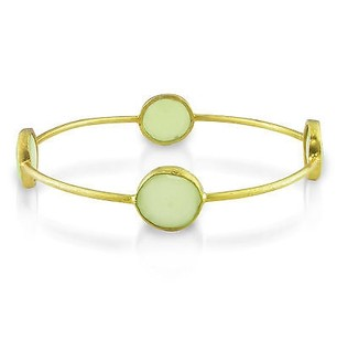 Amour Amour 22k Yellow Goldplated Synthetic Green Chalcedony Bangle Bracelet 8