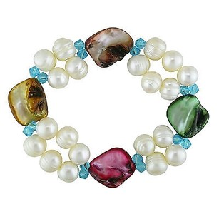 Amour Amour Cultured Freshwater Multi-color Pearl And Turquoise Crystal Bracelet 7