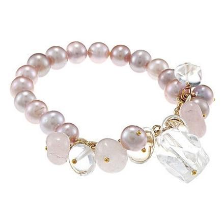 Amour Amour Goldtone Peach 9-10 Mm Freshwater Pearl And Quartz Cgarms Stretch Bracelet
