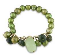 Amour Amour Goldtone Pistachio Pearl And Agate Stretch Bracelet 75 Ct Tgw