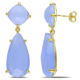 Amour Amour Pear And Cushion Blue Chalcedony Dangle Butterfly Earrings