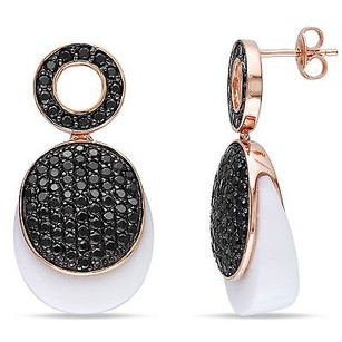 Amour Amour Pink Sterling Silver White Agate And Black Cubic Zirconia Dangle Earrings