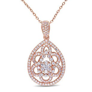 Amour Amour Rose Pink Sterling Silver Cubic Zirconia Pendant Necklace 18
