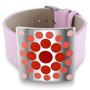 Amour Amour Stainless Steel Red Epoxy And Pink Leather 7-inch Bracelet