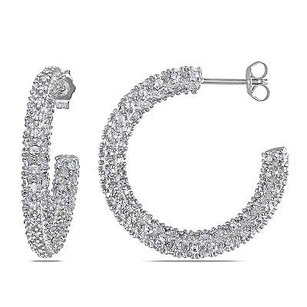 Amour Amour Sterling Silver 15 Ct Tgw White Topaz Hoop Earrings