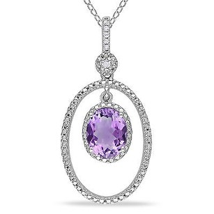 Amour Amour Sterling Silver Amethyst And Diamond Accent Pendant Necklace 18