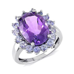 Amour Amour Sterling Silver Amethyst Tanzanite Gemstone Ring 5.91 Ct Cttw