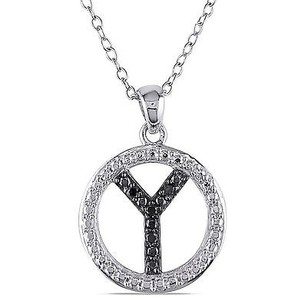 Amour Sterling Silver Black Diamond Y Initial Pendant