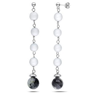 Amour Amour Sterling Silver Black Quartz And White Agate Earrings