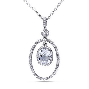 Amour Amour Sterling Silver Created White Sapphire And Diamond Pendant Necklace 18