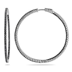 Amour Amour Sterling Silver Ct Tdw Black Diamond Hoop Earrings