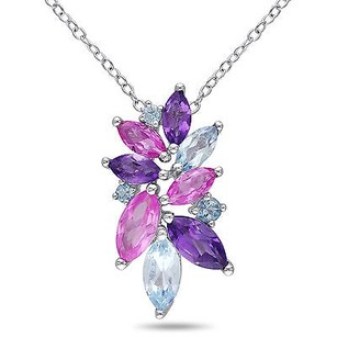 Amour Amour Sterling Silver Ct Tgw Multi-gemstone Flower Pendant Necklace 18