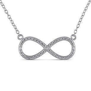 Amour Amour Sterling Silver Diamond Accent Infinity Pendant Necklace 18