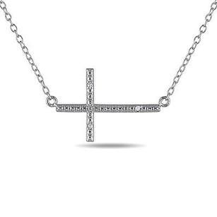 Amour Amour Sterling Silver Diamond Accent Sideways Cross Pendant Necklace 18