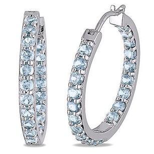 Amour Amour Sterling Silver Gemstone Sky Blue Topaz Hoop Earrings