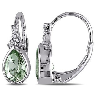 Amour Amour Sterling Silver Green Amethyst And Diamond Drop Dangle Leverback Earrings