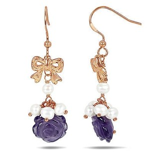 Amour Amour Sterling Silver Pearl And Rose Amethyst Dangle Earrings