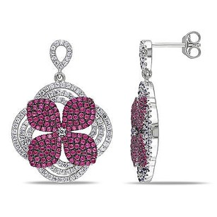 Amour Amour Sterling Silver Red And White Cubic Zirconia Flower Earrings