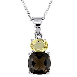 Amour Amour Sterling Silver Smokey Quartz And Citrine Pendant Necklace 18
