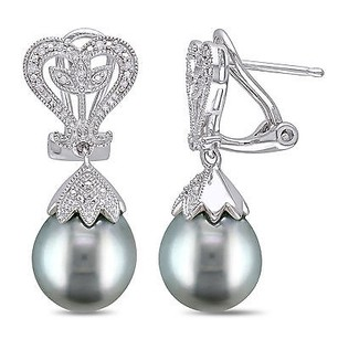 Amour Amour Sterling Silver Tahitian Pearl And Diamond Accent Earrings 10-10.5 Mm