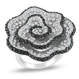 Amour Amour Sterling Silver White And Black Cubic Zirconia Cocktail Ring Ct Tgw