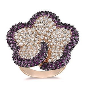 Amour Amour Sterling Silver White And Purple Cubic Zirconia Cocktail Ring 78 Ct Tdw