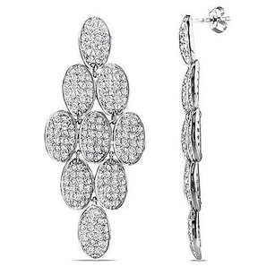 Amour Amour Sterling Silver White Cubic Zirconia Drop Earrings