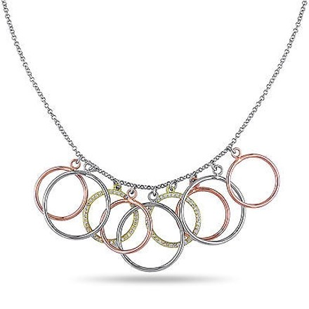 Amour Amour Three-tone Sterling Silver Cubic Zirconia Circle Hoop Pendant 18 Necklace