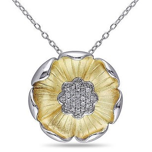 Amour Amour Two-tone Silver 110 Ct Tdw Diamond Flower Pendant Necklace G-h I2-i3 18