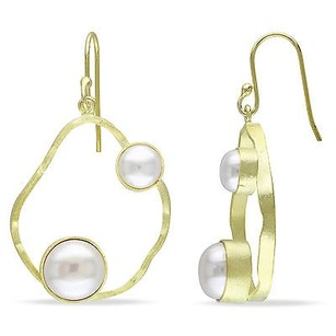 Amour Amour Yellow Sterling Silver White Pearl Dangle Earrings 6-9 Mm